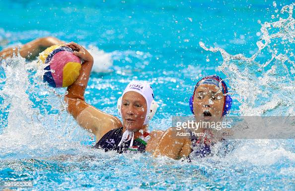 Dora Antal of Hungary and Anna Grineva of Russia compete for the ball during the Women's Water Polo Bronze Medal match between Hungary and Russia on...