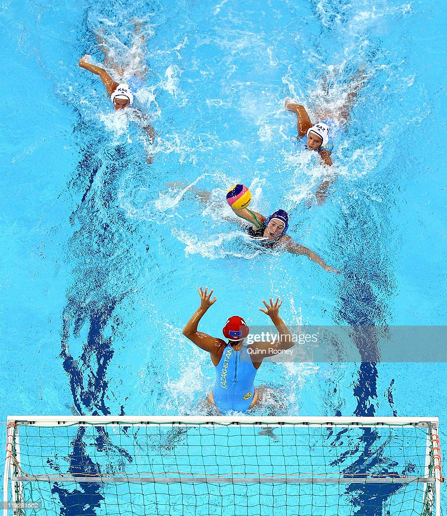 Dora Antal of Hungary prepares to shoot in the Women's Water Polo first preliminary round match between Kazakhstan and Hungary during Day Two of the 14th FINA World Championships at the Oriental Sports Center on July 17, 2011 in Shanghai, China.