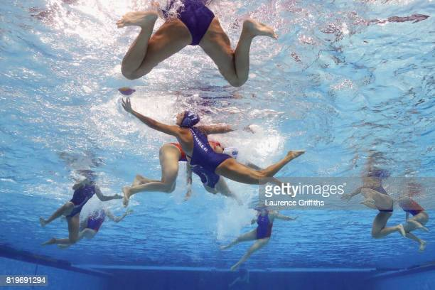 Dora Csabai of Hungary battles for the ball during the Women's Water Polo Group C preliminary round match between Netherlands and Hungary on day...