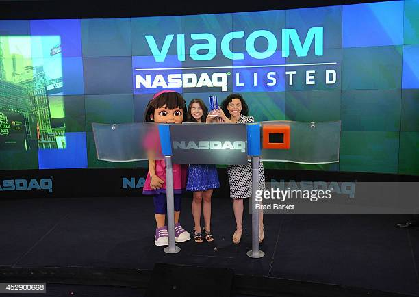 Dora Fatima Ptacek and Executive Vice President of Production and Development Nickelodeon Preschool Teri Weiss ring the NASDAQ Stock Market Closing...