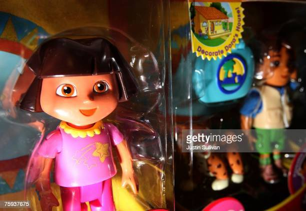 Dora the Explorer toys by FisherPrice are seen on display at Jefferey's Toys August 2 2007 in San Francisco California The toy maker announced...
