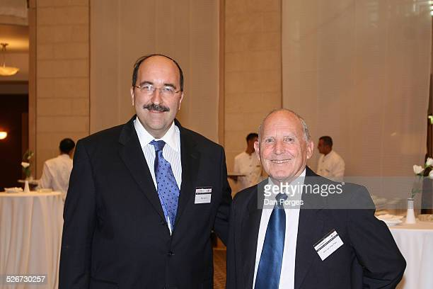 Dore Gold former Israeli ambassador to the UN and head of JPCA and Uzi Eilam a former Brigadier General at a conference on Israeli security regional...