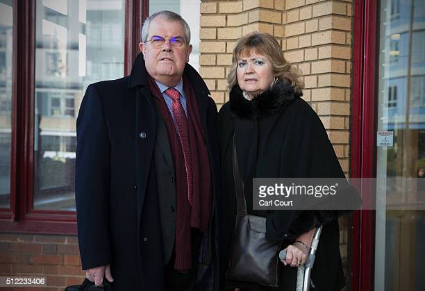 Doreen and Des James the mother and father of Cheryl James arrive at Woking Coroner's Court on February 23 2016 in Woking England A second inquest...