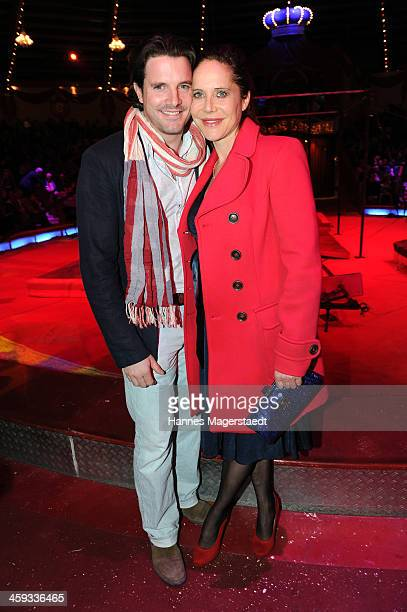 Doreen Dietel and Tobias Guttenberg attend the Circus Krone Christmas Show at Circus Krone on December 25 2013 in Munich Germany