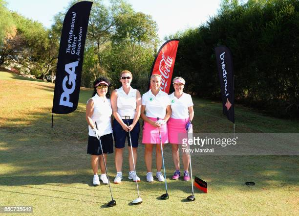 Doreen Hesketh of Ormskirk Golf Club and Alison Gray of Ormskirk Golf Club pose on the 1st tee with Suzanne Dickens of Nene Park Golf Club and Anne...
