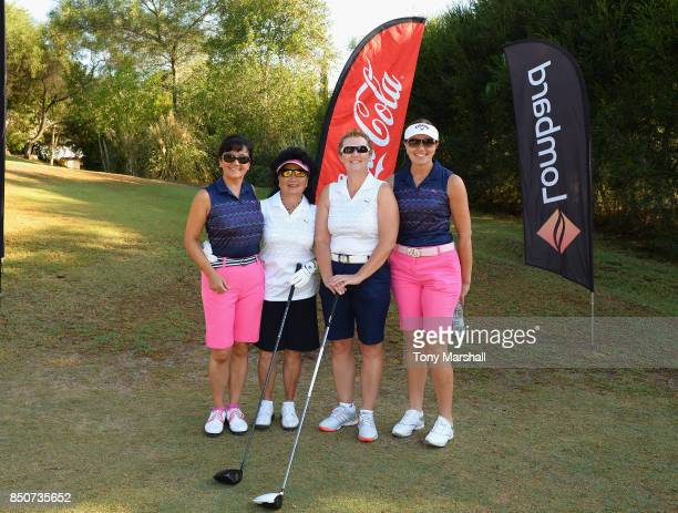 Doreen Hesketh of Ormskirk Golf Club and Alison Gray of Ormskirk Golf Club and their caddies pose on the 1st tee during The WPGA Lombard Trophy Final...