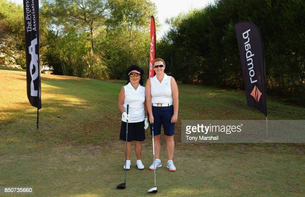 Doreen Hesketh of Ormskirk Golf Club and Alison Gray of Ormskirk Golf Club pose on the 1st tee during The WPGA Lombard Trophy Final Day One on...
