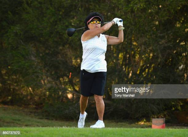 Doreen Hesketh of Ormskirk Golf Club plays her first shot on the 1st tee during The WPGA Lombard Trophy Final Day One on September 21 2017 in...
