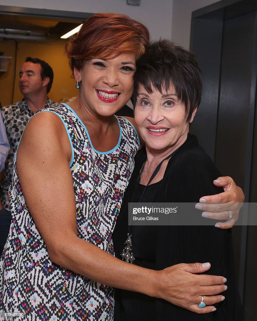 Doreen Montalvo and Chita Rivera pose backstage at the hit musical 'On Your Feet: The Gloria Estefan/Emilio Estefan Musical' on Broadway at The Marquis Theatre on August 16, 2017 in New York City.