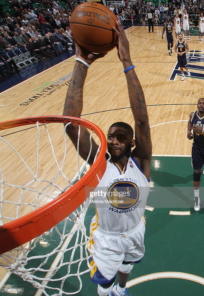 <a gi-track='captionPersonalityLinkClicked' href=/galleries/search?phrase=Dorell+Wright&family=editorial&specificpeople=211344 ng-click='$event.stopPropagation()'>Dorell Wright</a> #1 of the Golden State Warriors goes up for the dunk against the defense of the Utah Jazz at EnergySolutions Arena on February 16, 2011 in Salt Lake City, Utah.