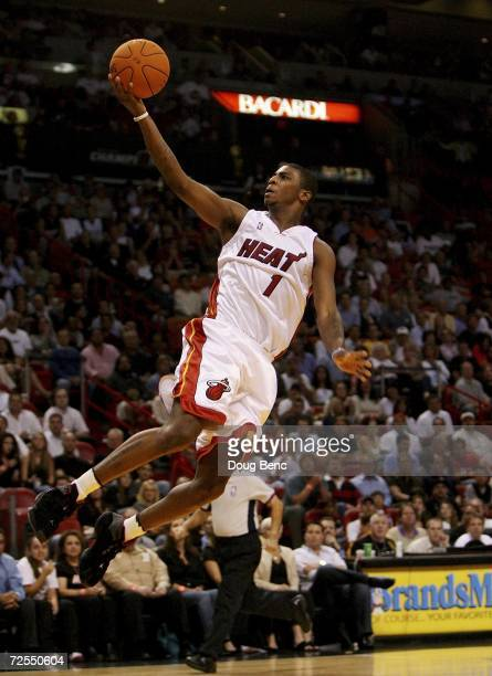 Dorell Wright of the Miami Heat goes in for a layup against the Denver Nuggets at American Airlines Arena on November 14 2006 in Miami Florida NOTE...