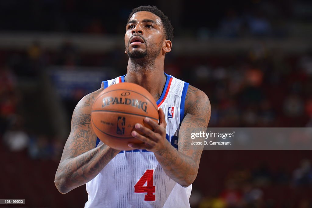 <a gi-track='captionPersonalityLinkClicked' href=/galleries/search?phrase=Dorell+Wright&family=editorial&specificpeople=211344 ng-click='$event.stopPropagation()'>Dorell Wright</a> #4 of the Philadelphia 76ers attempts a foul shot against the Atlanta Hawks at the Wells Fargo Center on April 10, 2013 in Philadelphia, Pennsylvania.