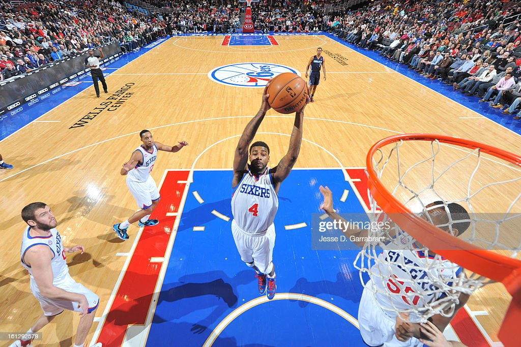 <a gi-track='captionPersonalityLinkClicked' href=/galleries/search?phrase=Dorell+Wright&family=editorial&specificpeople=211344 ng-click='$event.stopPropagation()'>Dorell Wright</a> #4 of the Philadelphia 76ers grabs a rebound against the Charlotte Bobcats during the game at the Wells Fargo Center on February 9, 2013 in Philadelphia, Pennsylvania.