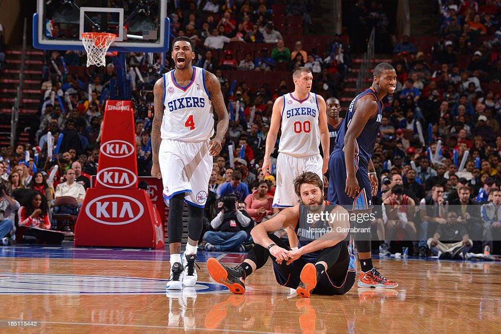 Dorell Wright #4 of the Philadelphia 76ers reacts during the game against the Charlotte Bobcats at the Wells Fargo Center on March 30, 2013 in Philadelphia, Pennsylvania.