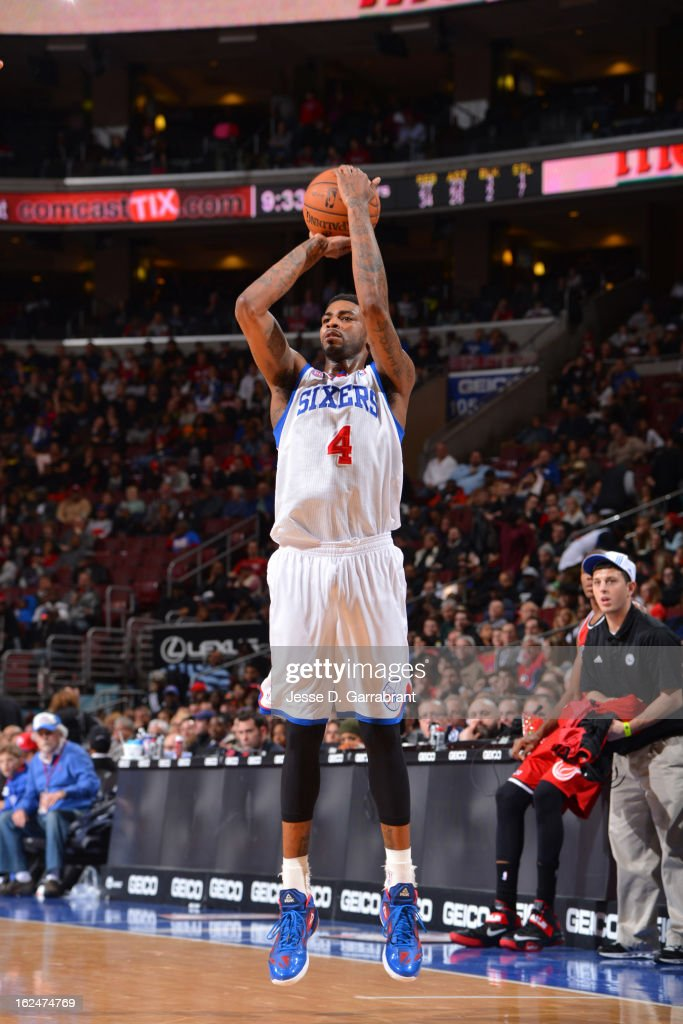 Dorell Wright #4 of the Philadelphia 76ers shoots a jumper against the Miami Heat at the Wells Fargo Center on February 23, 2013 in Philadelphia, Pennsylvania.
