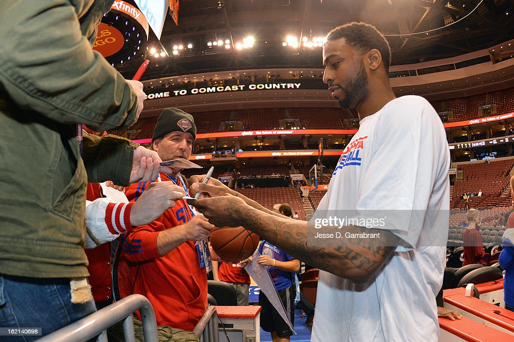 Dorell Wright #4 of the Philadelphia 76ers signs autographs before the game against the Orlando Magic at the Wells Fargo Center on February 4, 2013 in Philadelphia, Pennsylvania.