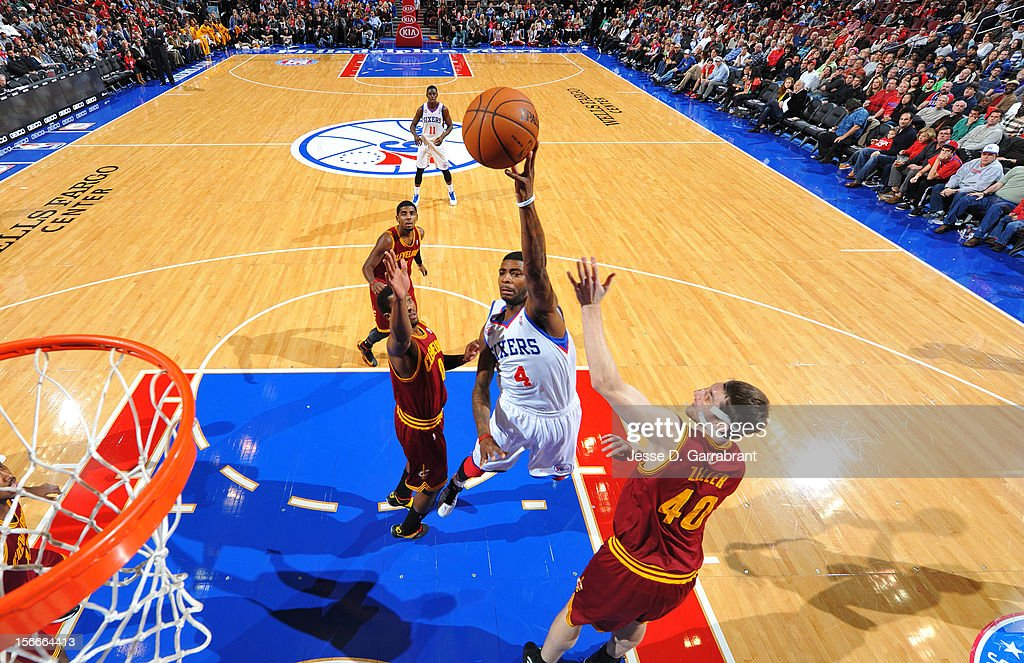 <a gi-track='captionPersonalityLinkClicked' href=/galleries/search?phrase=Dorell+Wright&family=editorial&specificpeople=211344 ng-click='$event.stopPropagation()'>Dorell Wright</a> #4 of the Philadelphia 76ers takes a shot against the Cleveland Cavaliers at the Wells Fargo Center on November 18, 2012 in Philadelphia, Pennsylvania.