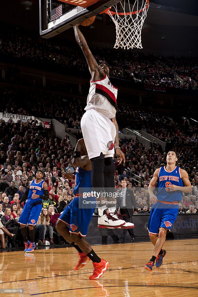 <a gi-track='captionPersonalityLinkClicked' href=/galleries/search?phrase=Dorell+Wright&family=editorial&specificpeople=211344 ng-click='$event.stopPropagation()'>Dorell Wright</a> #1 of the Portland Trail Blazers dunks the ball against the New York Knicks on November 25, 2013 at the Moda Center Arena in Portland, Oregon.