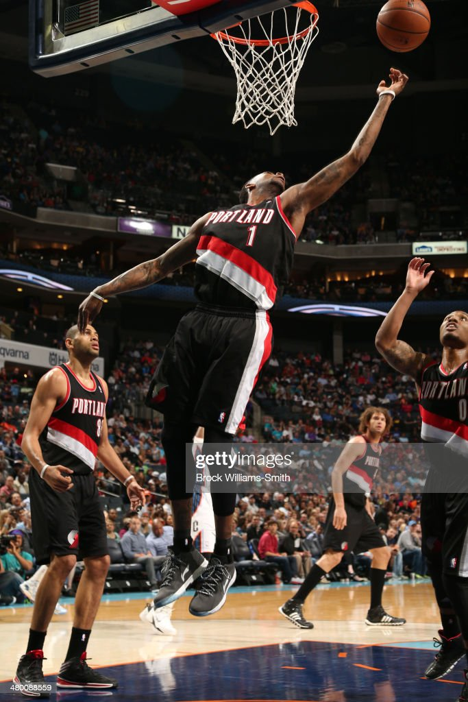Dorell Wright #1 of the Portland Trail Blazers grabs a rebound against the Charlotte Bobcats at the Time Warner Cable Arena on March 22, 2014 in Charlotte, North Carolina.