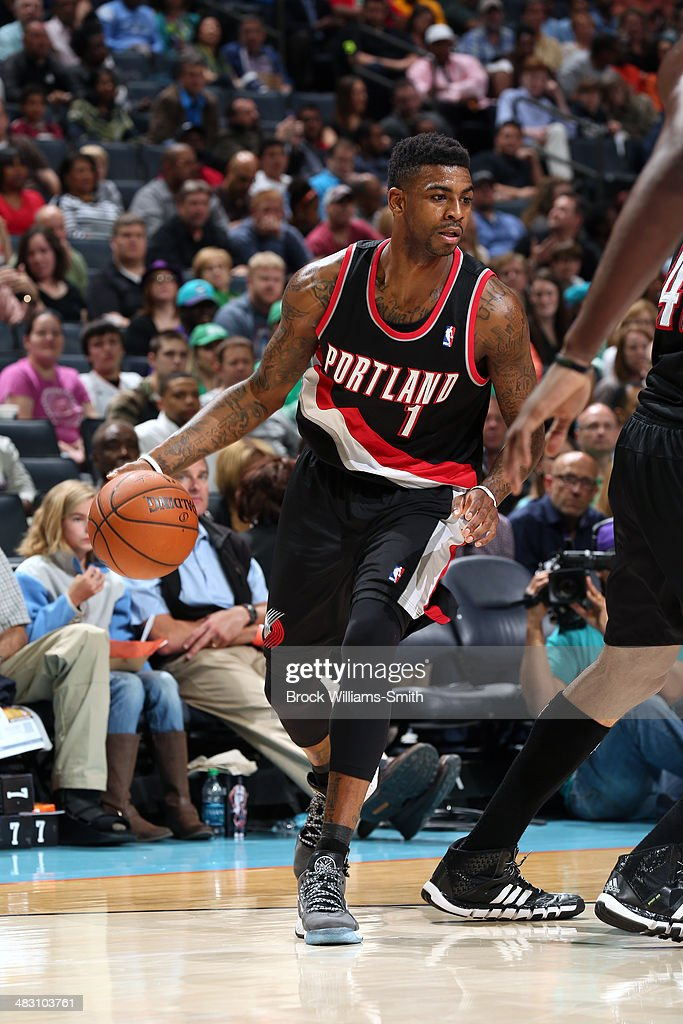 Dorell Wright #1 of the Portland Trail Blazers handles the ball against the Charlotte Bobcats during the game at the Time Warner Cable Arena on March 22, 2014 in Charlotte, North Carolina.