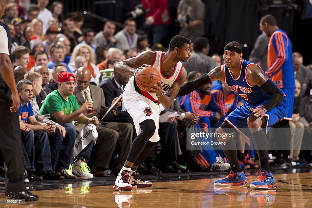 <a gi-track='captionPersonalityLinkClicked' href=/galleries/search?phrase=Dorell+Wright&family=editorial&specificpeople=211344 ng-click='$event.stopPropagation()'>Dorell Wright</a> #1 of the Portland Trail Blazers looks to pass the ball against the New York Knicks on November 25, 2013 at the Moda Center Arena in Portland, Oregon.