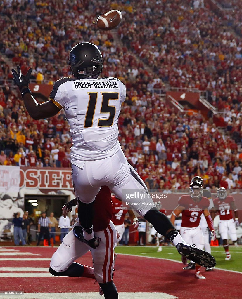 Dorial Green-Beckham #15 of the Missouri Tigers goes up for a touchdown reception against the Indiana Hoosiers at Memorial Stadium on September 21, 2013 in Bloomington, Indiana.