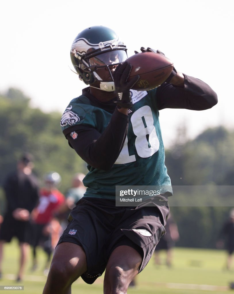 Dorial Green-Beckham #18 of the Philadelphia Eagles catches the ball during mandatory minicamp at the NovaCare Complex on June 13, 2017 in Philadelphia, Pennsylvania.