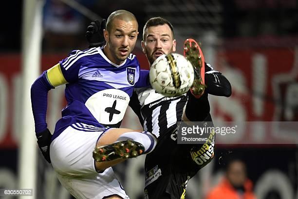 Dorian Dessoleil defender of Sporting Charleroi battles for the ball with Sofiane Hanni midfielder of RSC Anderlecht during the Jupiler Pro League...