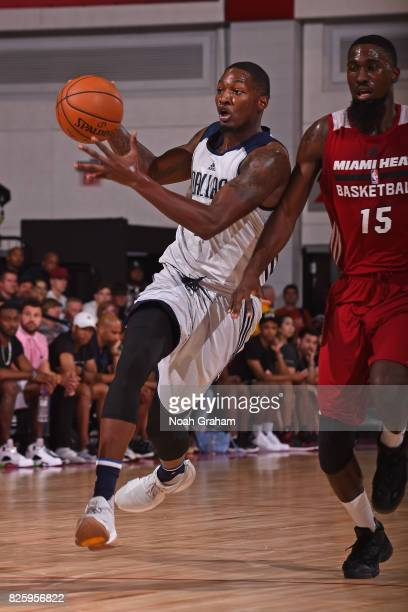 Dorian Finney Smith of the Dallas Mavericks drives to the basket during the 2017 Las Vegas Summer League game against the Miami Heat on July 11 2017...