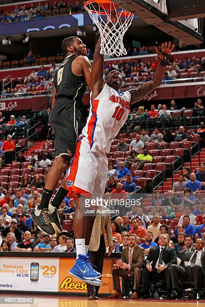 Dorian FinneySmith of the Florida Gators goes to the basket against Codi MillerMcIntyre of the Wake Forest Demon Deacons during the MetroPCS Orange...