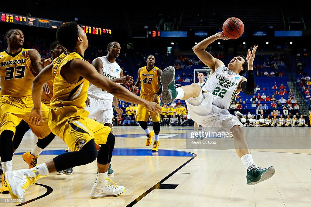 Dorian Green #22 of the Colorado State Rams loses his balances after drawing contact against Missouri Tigers during the second round of the 2013 NCAA Men's Basketball Tournament at the Rupp Arena on March 21, 2013 in Lexington, Kentucky.