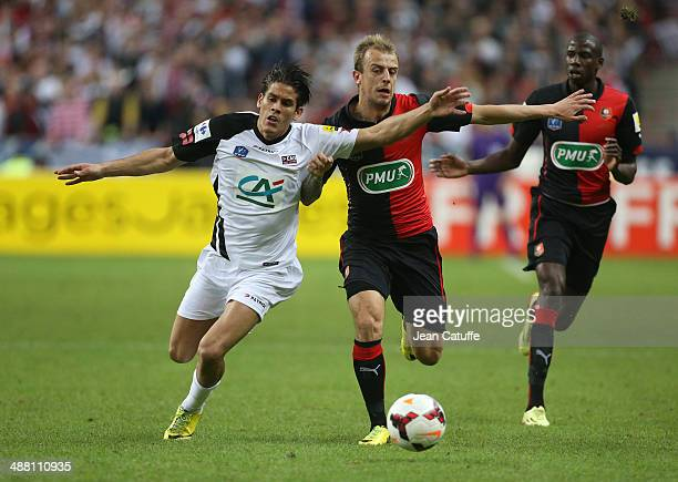 Dorian Leveque of Guingamp and Kamil Grosicki of Rennes in action during the French Cup Final between Stade Rennais FC and EA Guingamp at Stade de...