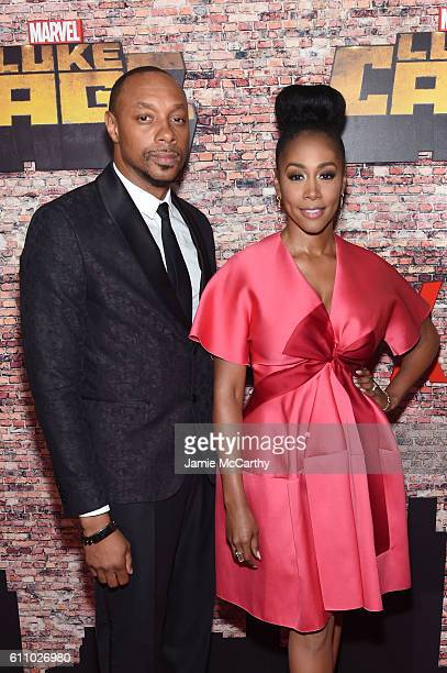 Dorian Missick and Simone Missick attend the 'Luke Cage' New York Premiere at AMC Magic Johnson Harlem on September 28 2016 in New York City