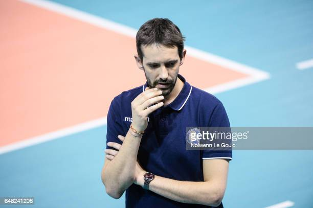 Dorian Rougeyron coach of Paris during the volleyball Ligue A match between Paris Volley and Nantes Reze at Salle Pierre Charpy on February 23 2017...