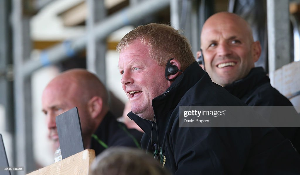 Dorian West, the Northampton Saints forwards coach watches the match with director of rugby, <a gi-track='captionPersonalityLinkClicked' href=/galleries/search?phrase=Jim+Mallinder&family=editorial&specificpeople=747109 ng-click='$event.stopPropagation()'>Jim Mallinder</a> and <a gi-track='captionPersonalityLinkClicked' href=/galleries/search?phrase=Alex+King+-+Rugby+Player&family=editorial&specificpeople=15221454 ng-click='$event.stopPropagation()'>Alex King</a>, the backs coach during the pre season friendly match between Northampton Saints and Moseley at Franklin's Gardens on August 23, 2014 in Northampton, England.
