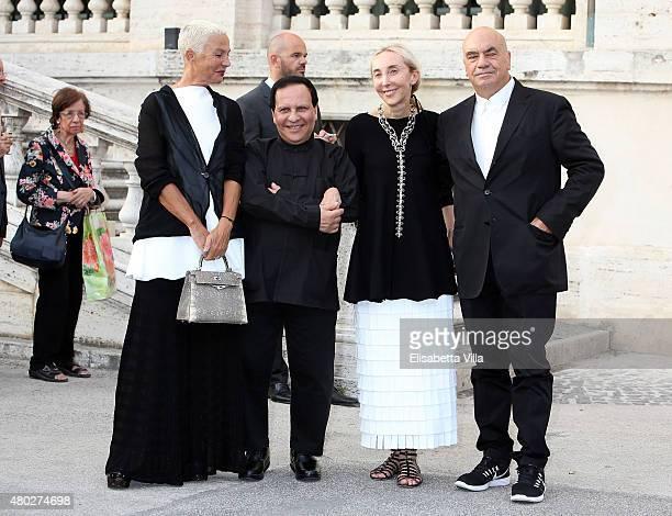 Doriana Mandrelli Fuksas Azzedine Alaia Carla Sozzani and Massimiliano Fuksas attend 'Couture / Sculpture' Vernissage Cocktail honoring Azzedine...