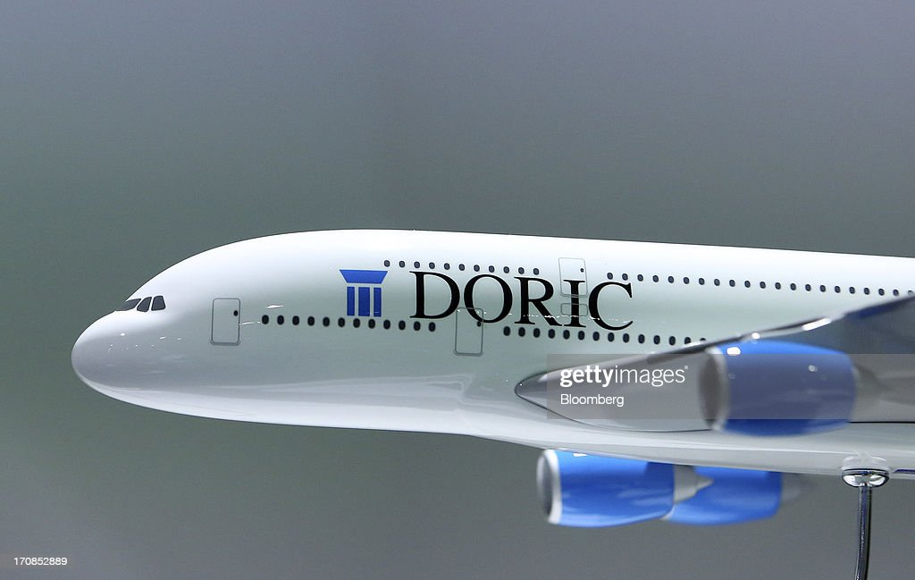 A Doric Asset Finance Ltd. logo sits on the fuselage of a model Airbus SAS A380 aircraft during a news conference on the first day of the Paris Air Show in Paris, France, on Monday, June 17, 2013. The 50th International Paris Air Show is the world's largest aviation and space industry show, and takes place at Le Bourget airport June 17-23. Photographer: Chris Ratcliffe/Bloomberg via Getty Images
