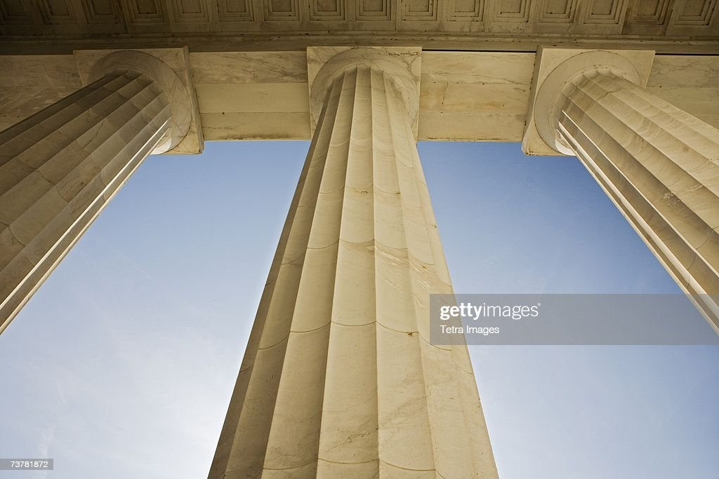 Doric columns at the Lincoln Memorial Washington DC USA