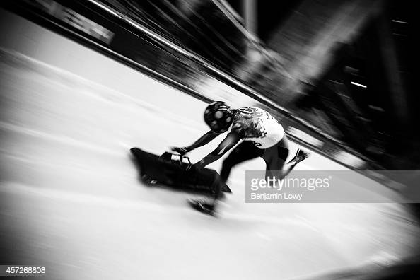 Dorin Velica of Romainia competes in the Men's Skeleton Final on Day 8 of the Sochi 2014 Winter Olympics at Sliding Center Sanki on February 15 2014...