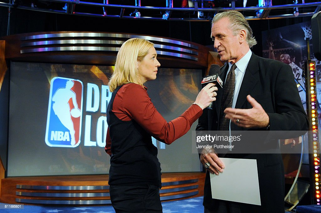 Doris Burke of ESPN interviews Pat Riley President of the Miami Heat during the 2008 NBA Draft Lottery at the NBATV Studios on May 20, 2008 in Secaucus, New Jersey.
