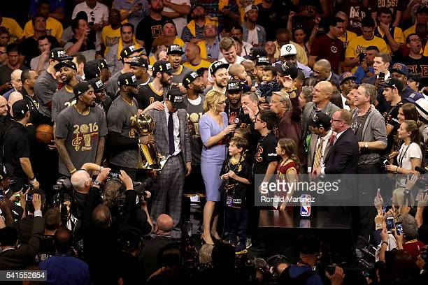 Doris Burke speaks with Cleveland Cavaliers owner Dan Gilbert after the Cavaliers defeated the Golden State Warriors 9389 in Game 7 of the 2016 NBA...