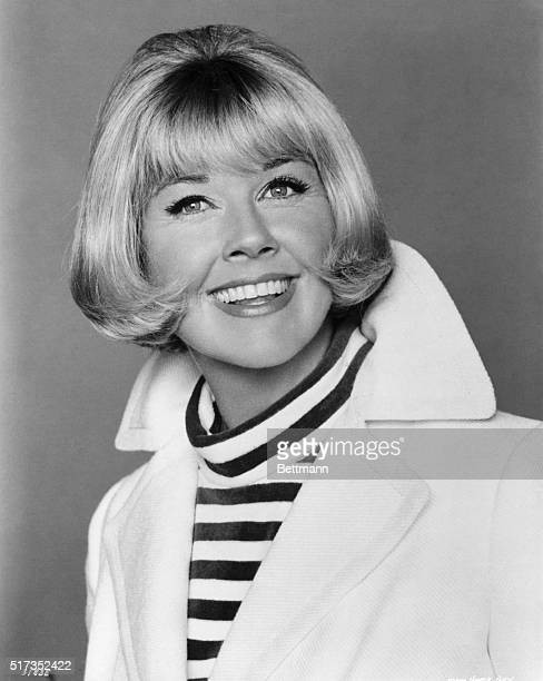Doris Day born 1924 in striped turtleneck and jacket Ca 1950s1960s
