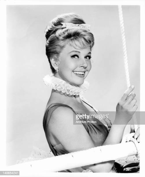 Doris Day holding onto trapeze in a scene from the film 'Billy Rose's Jumbo' 1962