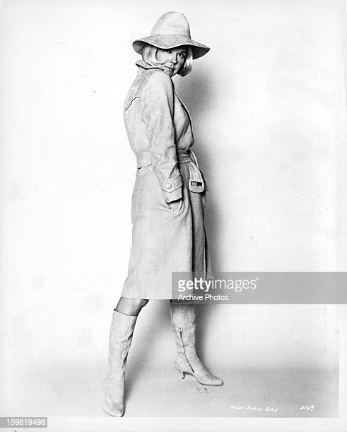 Doris Day puts on quite a show in her Ray Aghayan designed wardrobe in publicity portrait for the film 'The Glass Bottom Boat' 1966