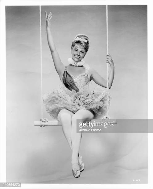 Doris Day sitting on trapeze in a scene from the film 'Billy Rose's Jumbo' 1962