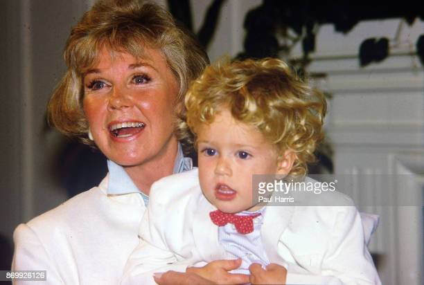 Doris Day with her grandson Ryan Melcher 4 the son of her only child Terry Melcher at a press conference at the hotel she owns in Carmel California...