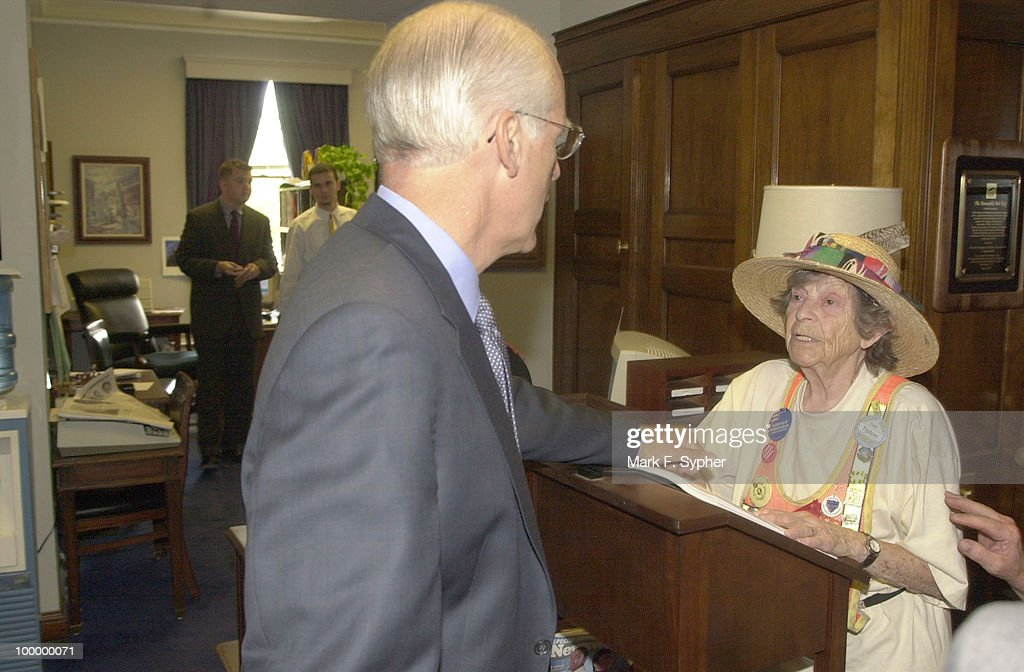 Doris Haddock, better known as 'Granny D,' spoke in Rep. Robert Ney's, R-Ohio office in the Longworth building on Wednesday afternoon. Haddock was reading a list of 'double givers' of 'soft money,' by industry. The list and tables were 99 pages long. Here, Rep. Christopher Shays, R-Conn., visibly angered, urged Haddock to 'Come see me in my office, please.'