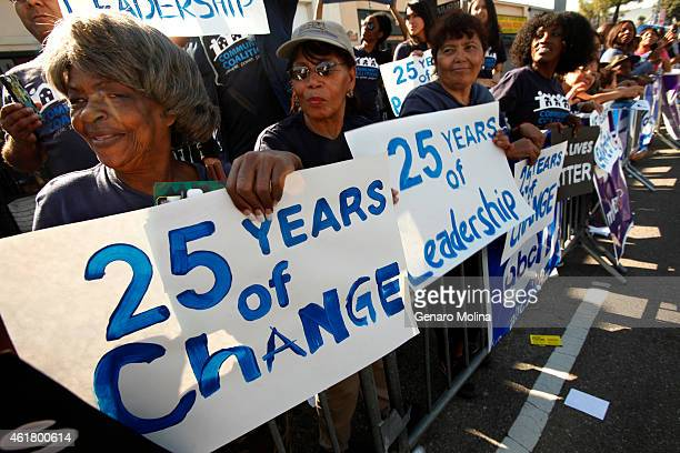 Doris James from left Rose Jackson Reina Villatoro 60 and Gerri Lawrence holds signs that show how long their organization Community Coalition has...