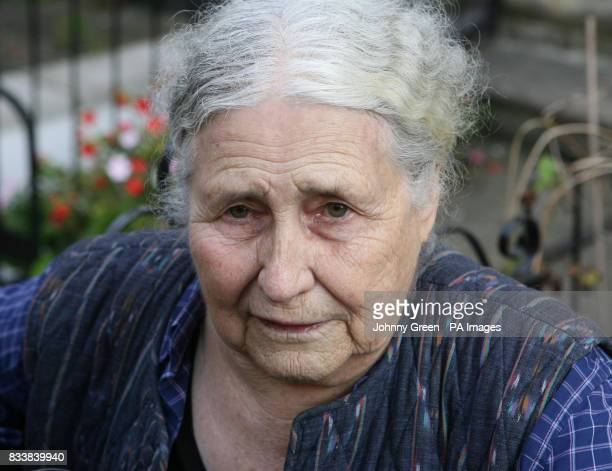 Doris Lessing author of dozens of works from short stories to science fiction including the classic 'The Golden Notebook' speaks to the press outside...
