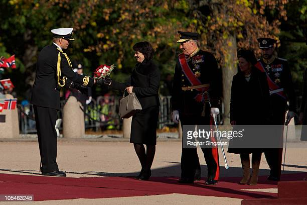 Doris Leuthard and King Harald V of Norway attend a welcoming ceremony for the President of the Swiss Confederation Her Excellency Ms Doris Leuthard...